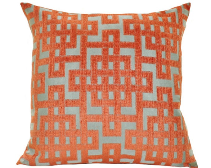 22 x 22 or 16x20 Ready to Ship - Orange Aqua Turquoise Geometric Greek Key Trellis Designer Cover - Throw Pillow - Motif Pillow