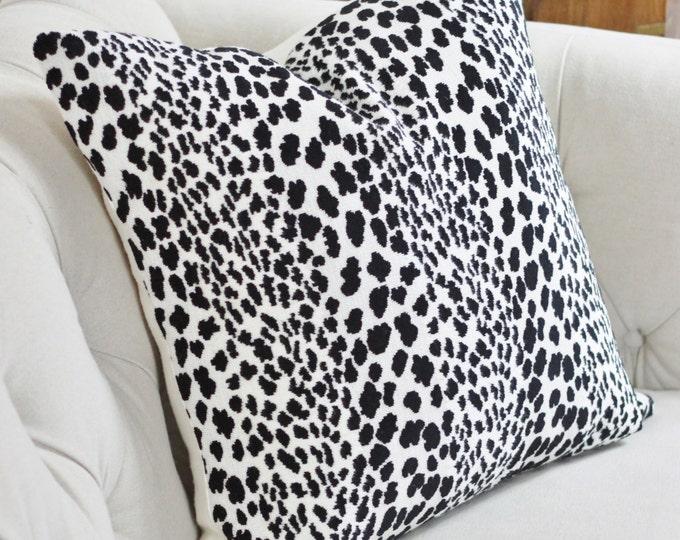 Animal Print Pillow - Spotted Velvet Pillow Cover - Animal Print Throw - Black & Off White Velvet - Dalmatian - Cheetah - Motif PIllow
