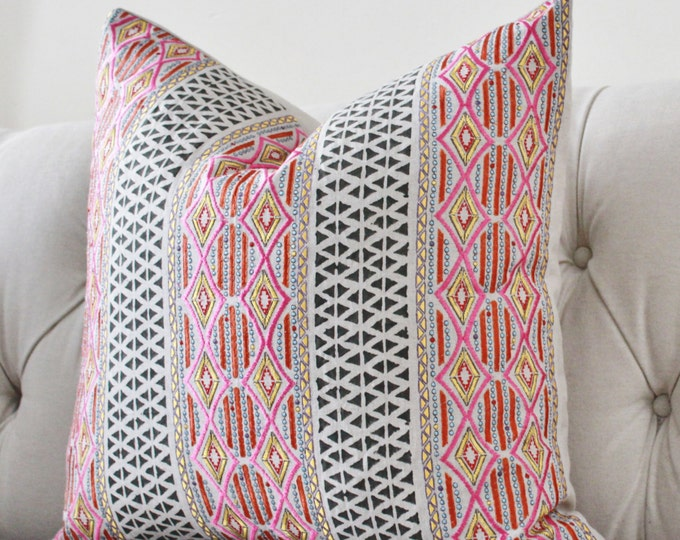 Pink Geometric Pillow Cover - Designer Pink Orange Gold Silver Embroidered Moroccan Block Print Pillow Cover - High End Pillow