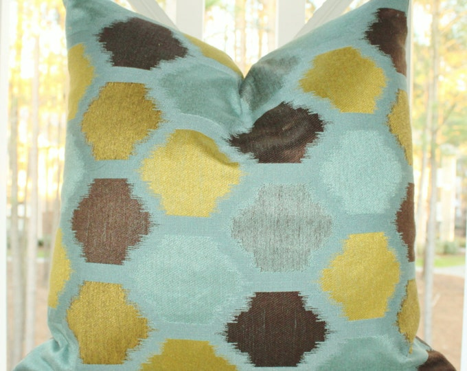 Sale 25.00 Turquoise Blue Chartreuse Brown Ikat Cover -  Spring Throw Pillow - Ikat Pillow