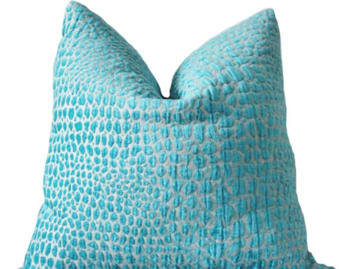 Turquoise Lumbar Pillow Cover -  Animal Print - Teal Lumbar Throw Pillow - Modern Blue Pillow - Hollywood Regency - Motif Pillows