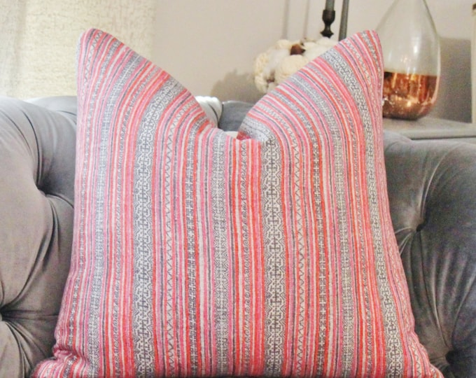 Pink  Indigo Geometric Pillow Cover - Pink Orange Blue Block Print - High End Pillow - Hmong - Boho Pillow Cover - Pink and Blue Decor