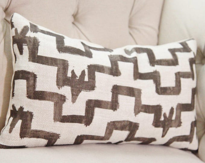 Ready to Ship - Zak & Fox Designer Linen Pillow - Tulu -  Brown Pillow Cover - Geometric Throw Pillow - Modern Brown Pillow - Neutral Pillow