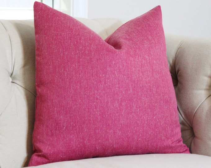Sale - 35.00 Raspberry Pink Tweed - Solid Pink Pillow Cover - Throw Pillow - Designer Pink Herringbone Pillow - Pink Decor