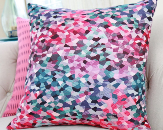 """Sale 35.00 18"""" or 20"""" - Turquoise Pink Purple Pillow - Magenta Purple Geometric Pillow Cover - Modern Throw Pillows - Spring & Summer Pillow"""