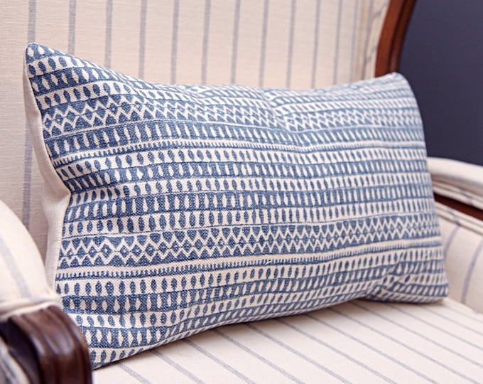 Blue and Ivory Small Scale Geometric Pillow Cover - Blue Modern Pillow Cover
