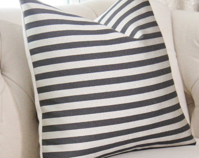 SALE - Ready to Ship 18 x 18 or 14 x 20 Schumacher Black & Silver Pillow Cover - Metallic Knit Pillow Cover - Metallic Stripe - Throw