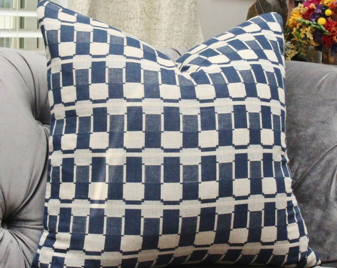 Blue Geometric Pillow Cover - Modern Blue - Indigo Blue and Greige Decorative Pillow - Hand Dyed - Motif Pillows - Color Blocking