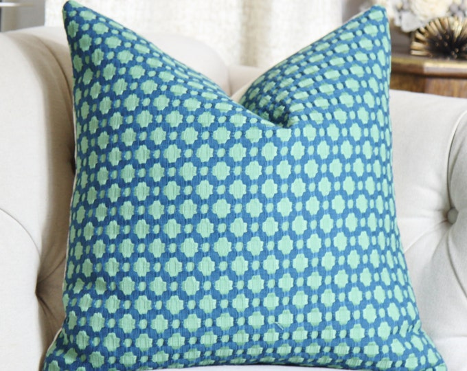 Schumacher - Betwixt in Peacock Sea Glass - Teal Pillow Cover - Designer Pillow - Blue Green Pillow - Throw Pillow - Toss Pillow Cover