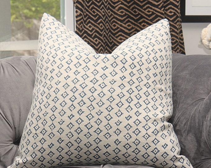 Peter Dunham Kumbh Pillow Cover - Modern Linen Blue & Ivory Pillow Cover - Motif Pillows - Global home decor - Indigo and Ivory