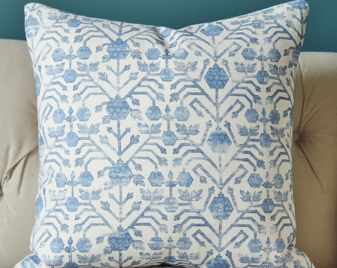 Zak and Fox Cobalt - Khotan - Blue Geometric Throw  - Bohemian - Tribal - Blue and Off White Pillow Cover - Blue Home Decor