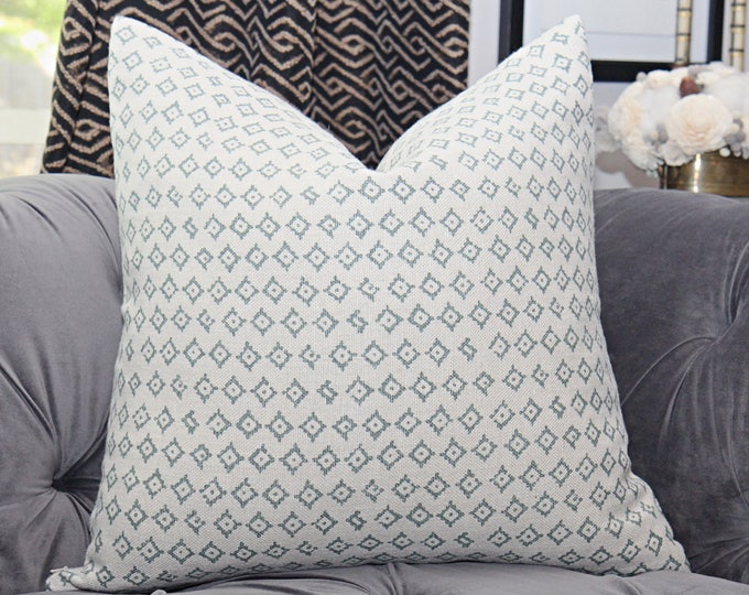 Peter Dunham Kumbh in Ocean Pillow Cover - Modern Linen Green & Ivory Pillow Cover - Motif Pillows - Global home decor