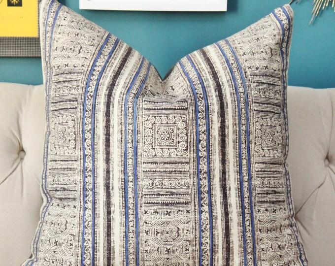 Royal Blue, Black & Ivory (not white) Pillow Cover - Hmong - Boho Pillow Cover - Blue Decor - Motif Pillows - Tribal Ethnic Designer Cover