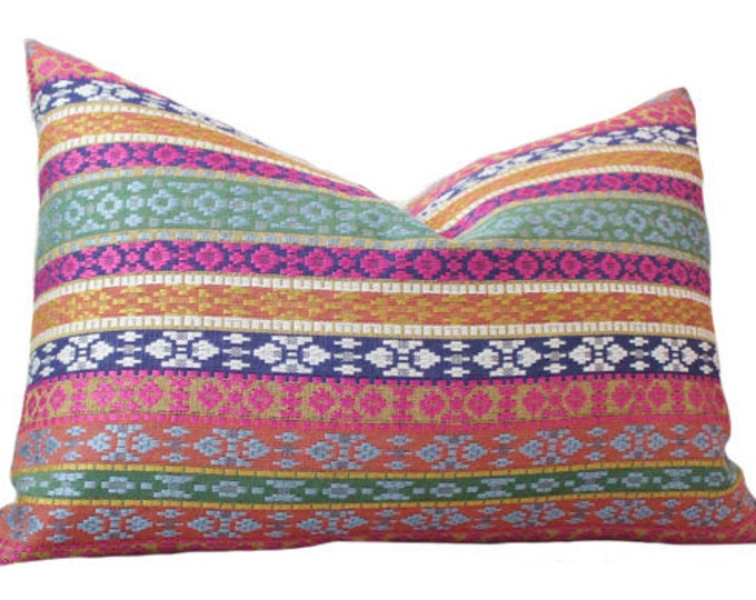 Ready to ship 12x18 Moroccan Pillow Cover - Pink Blue Green Orange Yellow -  Multi Colored - Designer Throw Pillow Cover - Pink Blue Pillow