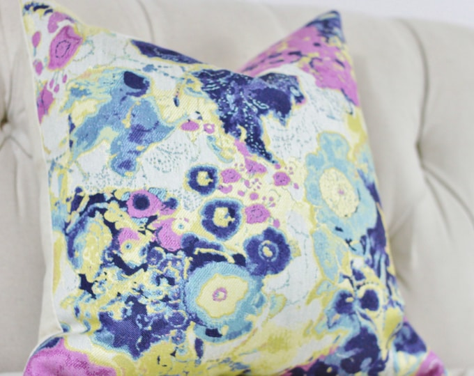 Sale - Floral Purple - Modern Lilac, Indigo Blue, Gold and Aqua Floral Designer Pillow Cover