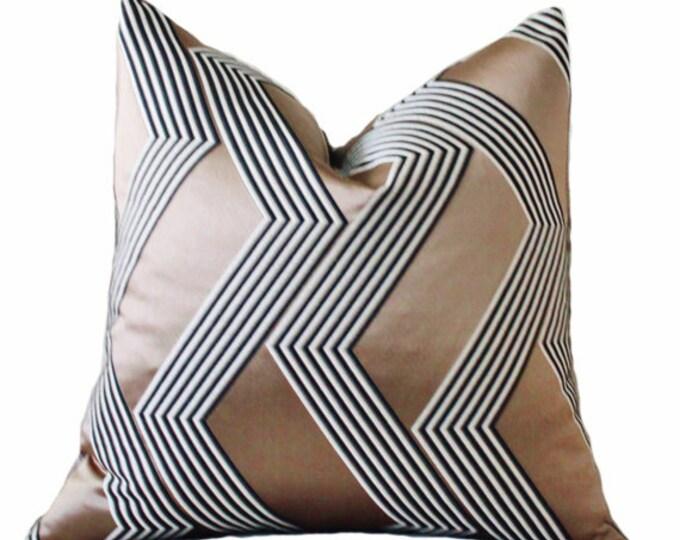 Modern Metallic Pillow - Italian Silk Pillow Cover - Taupe Black & Ivory Pillow - Designer Geometric Pillow Cover -Dedar  Neutral Pillow