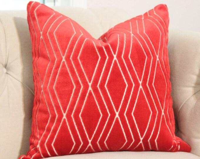 Sale - 25.00 - Romo 20 x 20 Red Velvet Pillow Cover -Cut Velvet Throw Pillow - True Red & Gray Pillow - Geometric Zig Zag Toss Pillow Cover