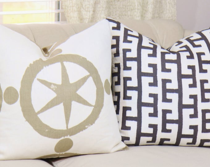 Sale 35.00 - Modern Nuetral Pillow Cover - Taupe  White Geometric - Modern Pillow - Star Medallion Pillow Cover - Shabby Chic - Linen