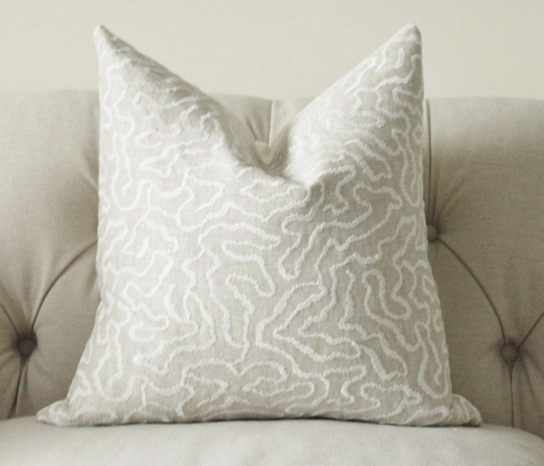 Schumacher Pillow Cover Greige Pillow Grey Beige Off White Etsy
