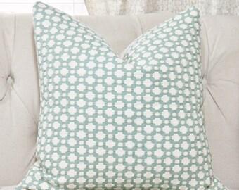 Schumacher Betwixt Pillow Cover - Water Ivory - Designer Pillow - Sea Glass Pillow - Sea Foam Green