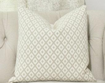 Tan and Ivory Pillow - Neutral Pillow -  Throw Pillow - Designer Beige Pillow - Motif Pillow - Toss Cushion