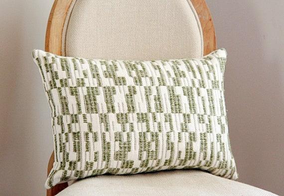 Sayat in Shuvuu Green Geometric Throw Pillow - Green Bohemian Embroidered Pillow - Zak and Fox