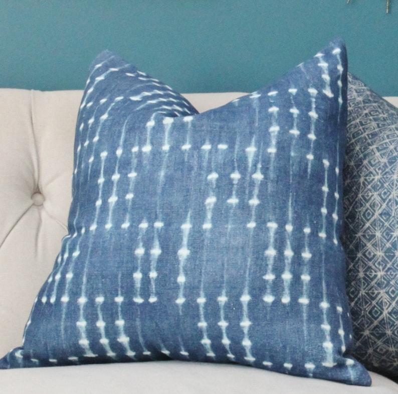 Blue Pillow Cover Modern Indigo Blue