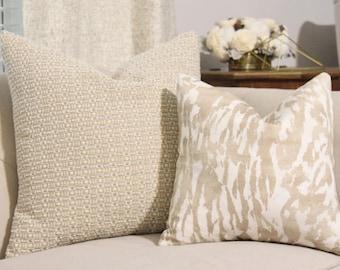 Schumacher Pillow Cover - Feline Natural Pillow Cover - Nuetral Grey Designer Pillow - Greige White - Throw Pillow - Designer Pillow - Motif