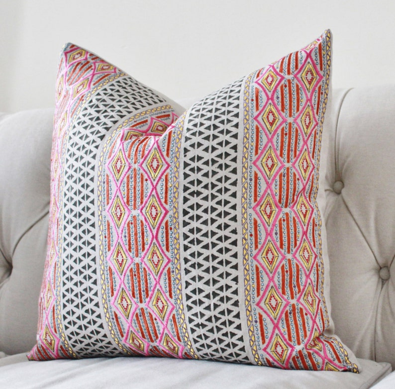 Pink Geometric Pillow Cover with Pink Orange Yellow  image 0