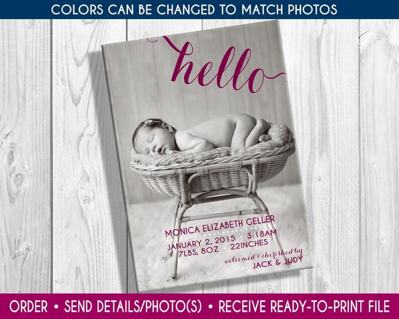 Print-yourself Photo Girls Birth Announcement photo birth image 0