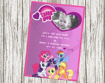 My Little Pony Photo Birthday Thank You Card