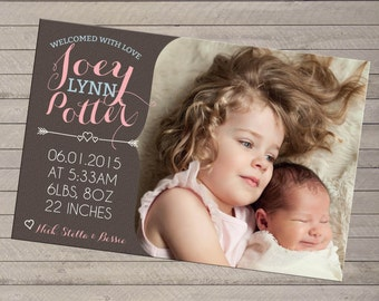Print-yourself Photo Birth Announcement - For Baby Boy or Girl