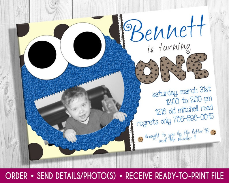 Cookie Monster Photo Birthday Invitation Cookie monster image 0
