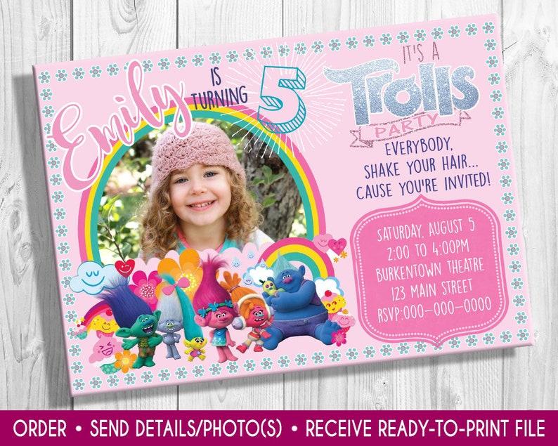 Trolls Birthday invite with photo Trolls movie Poppy and image 0