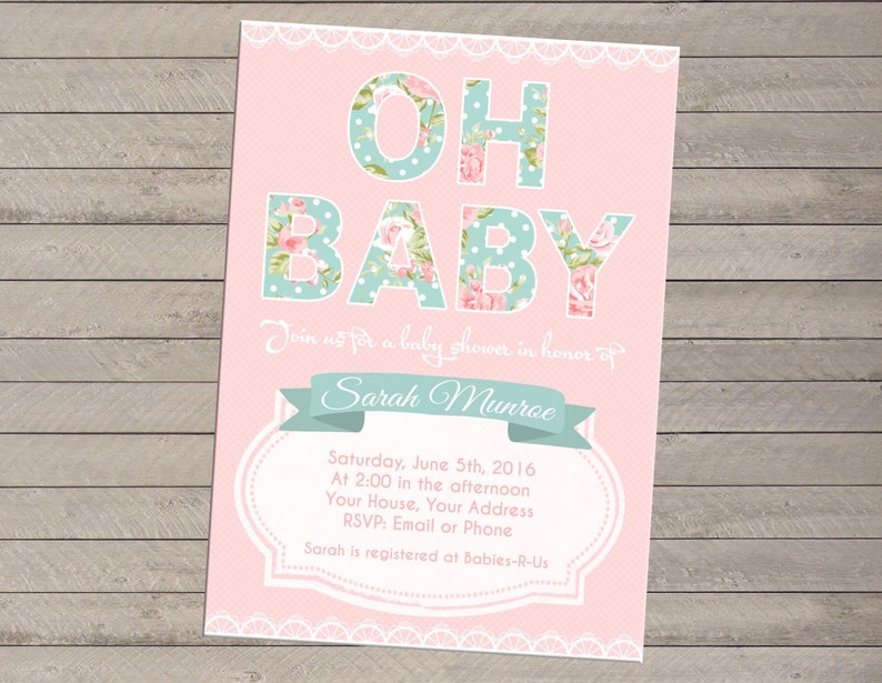 Print-yourself Floral Baby Shower Invitation  Boy or Girl image 0