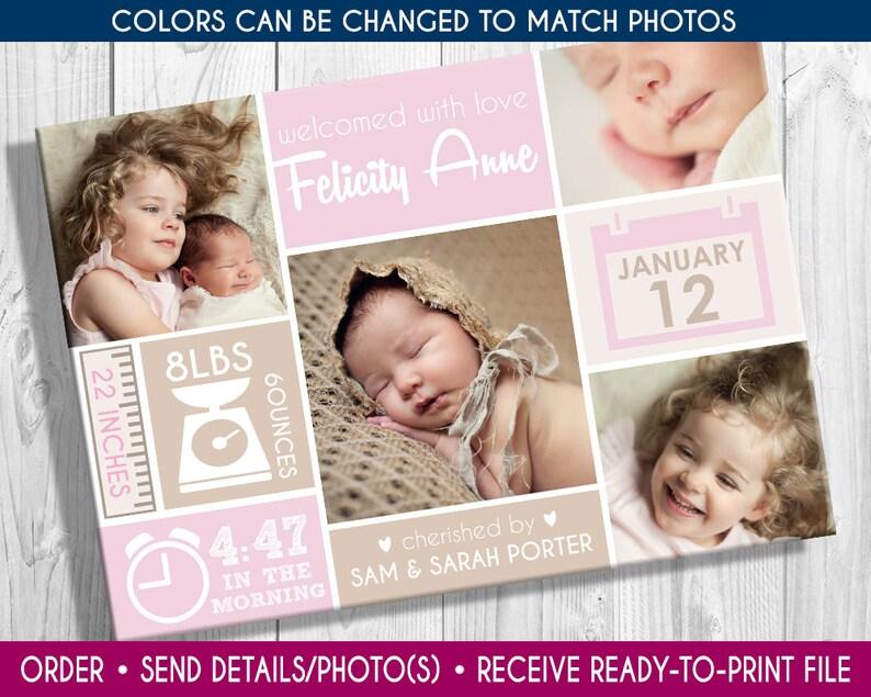 Print-yourself 4 Photo Girls Birth Announcement photo birth image 0