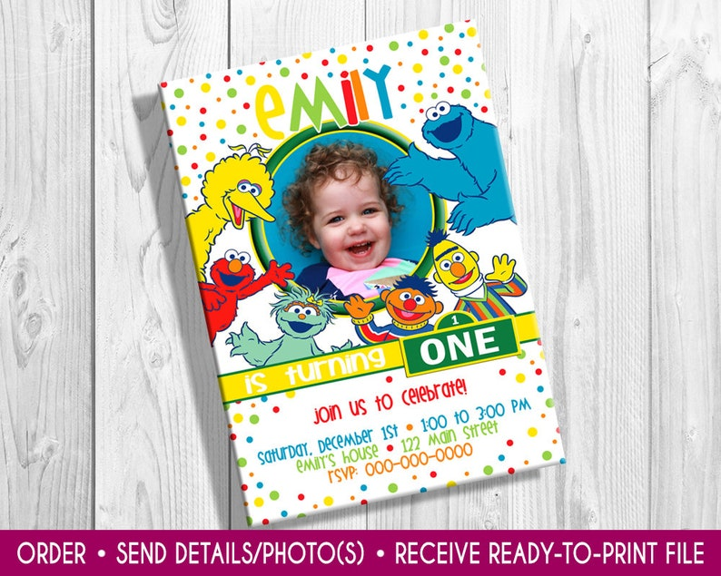 Sesame Street Birthday Invite with photo Elmo birthday image 0