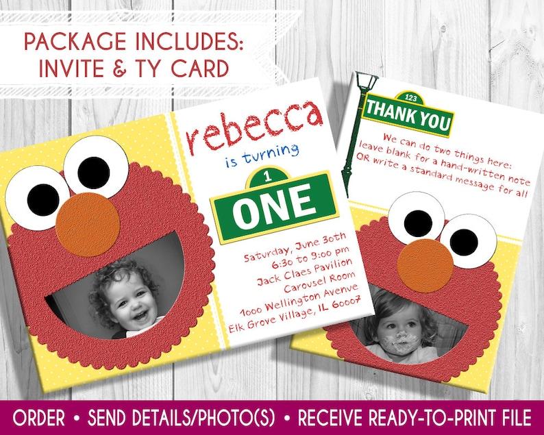 Elmo Birthday Invitation with photo and thank you card Elmo image 0