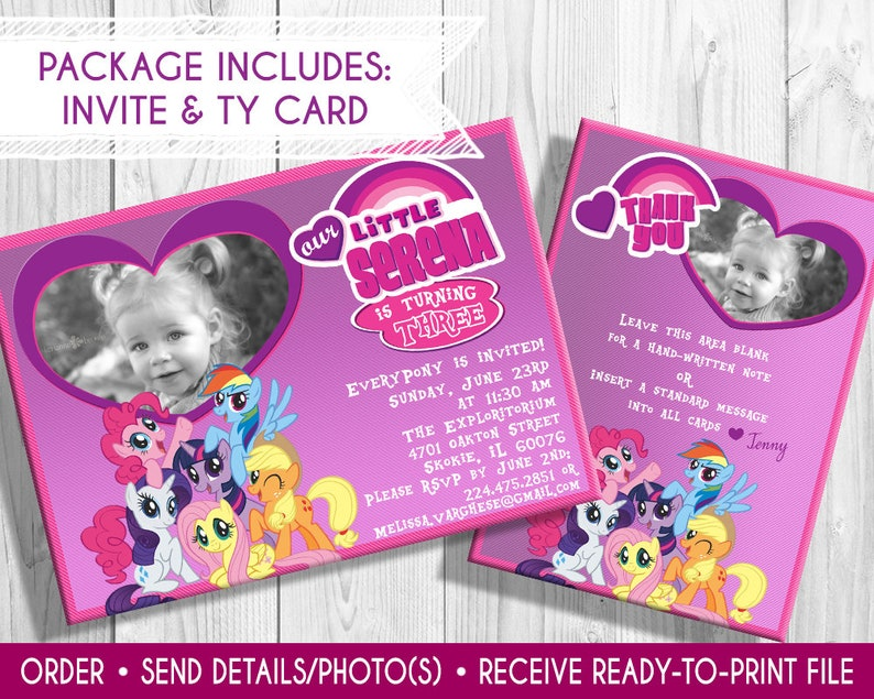 My Little Pony Birthday Invitation and Thank You Card with image 0