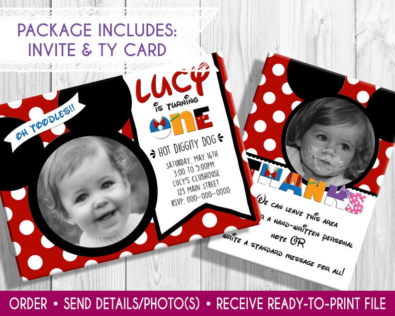 Mickey Mouse Photo Birthday Invite thank you card photo image 0