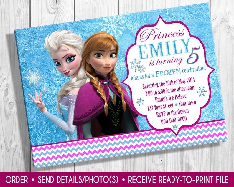 Frozen invite with photo Elsa invitation Elsa and Anna Frozen invite Frozen birthday invitation photo Frozen invitation Elsa invite