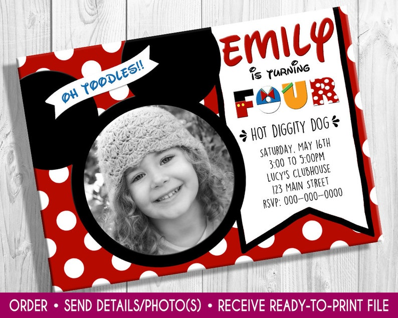 Mickey Mouse Photo birthday invite Mickey Mouse invite image 0