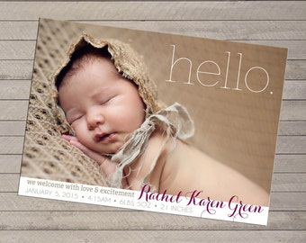 Print-yourself Photo Birth Announcement - Hello - For Baby Boy or Girl