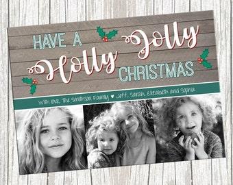 Three Photo Christmas Holiday Card