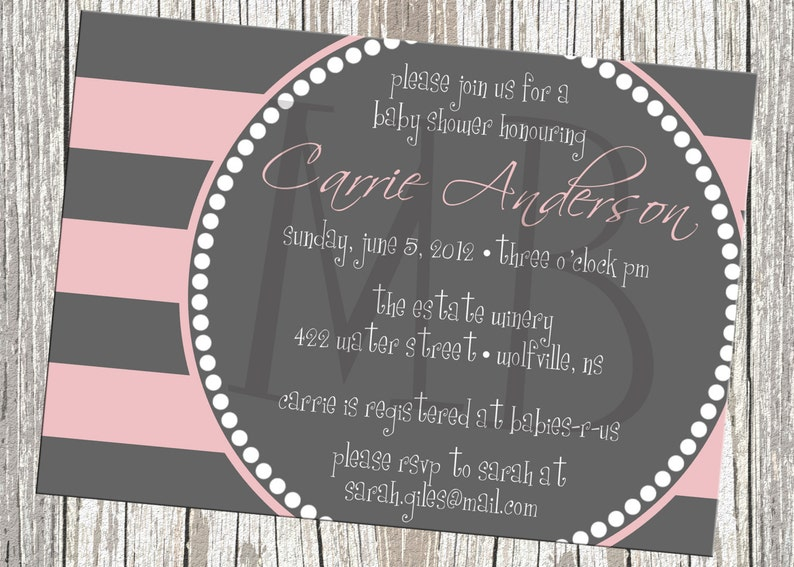 Contemporary Stripes Baby Shower Invitation  Baby Girl or Boy image 0