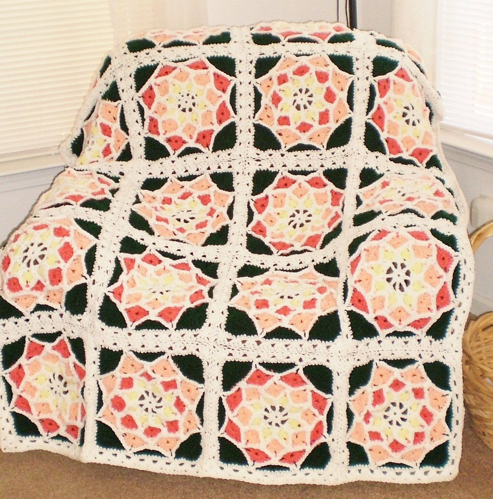 New Suncatcher Stained Glass Handmade Crochet Afghan Etsy