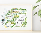 Costa Rica Illustrated Map Print, Witch's Rock, El Mangroove, Playa Hermosa, Tamarindo