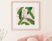 Cockatoo with Banana Leaves in Pink & Peach