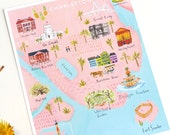 Charleston Map print featuring Rainbow Row, Old City Market, Angel Oak, the Citadel, Pineapple Fountain and Fort Sumter