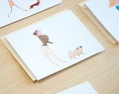 Pug Dog Walker Set of 5 Cards